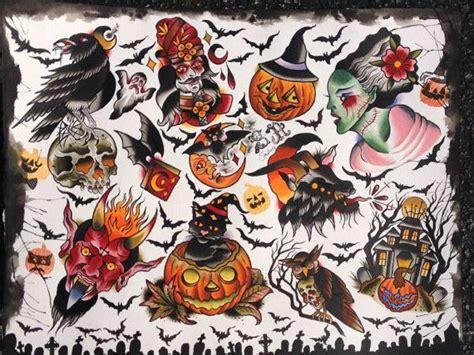 tattoo flash halloween halloween tattoo flash 14x18 by stevil666 on etsy tattoo