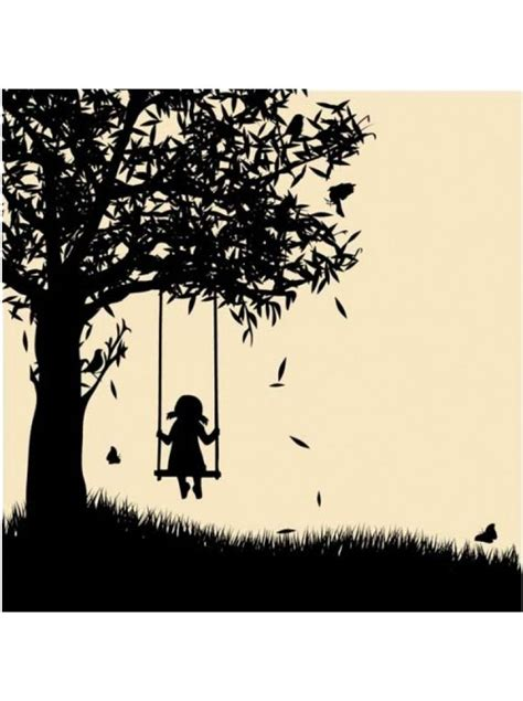 silhouette swing girl on swing silhouette willow tree canvas pinterest
