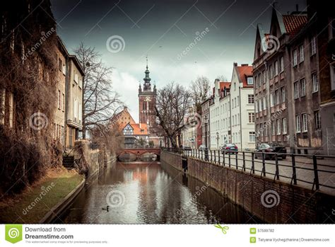 Large House Plans by Canal In The Old Town Of Gdansk Poland Stock Photo Image 57599782