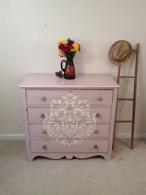 Annie Sloan Chalk Paint Antoinette Damask Stenciled Shabby Chic Changing Table