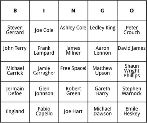 Esl Bingo Card Template by World Cup Players Bingo By Bingo Card Template