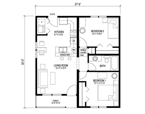 2 bedroom bungalow floor plan 2 bedroom 1 bath bungalow house plans www indiepedia org