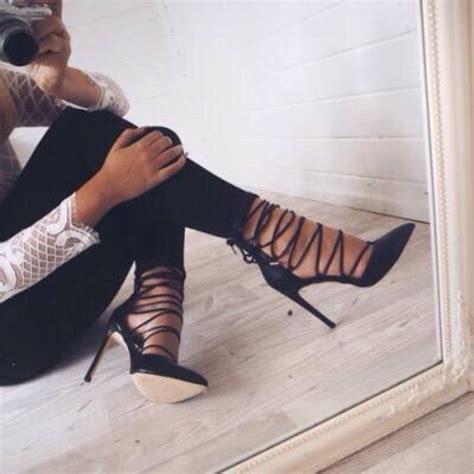 Heels Yd shoes lace up heels vue boutique heels blac straps
