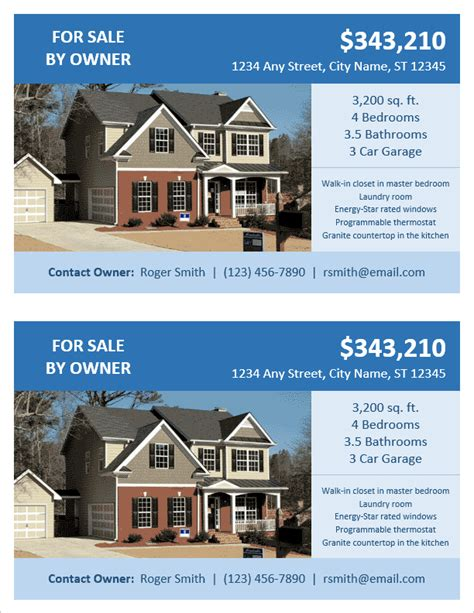 templates for house for sale by owner flyers fsbo flyer template for word