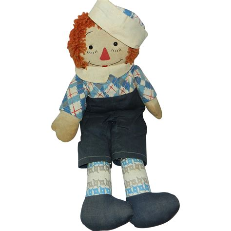 Handmade Raggedy And Andy Dolls - vintage handmade 19 quot raggedy andy doll sold on ruby
