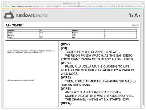 printing rundowns and scripts rundown creator web based tv
