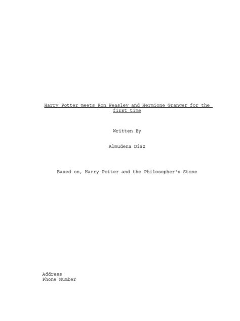 Harry Potter and the Philosophers Stone Script