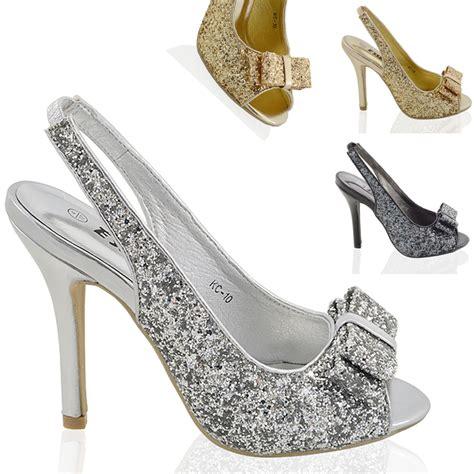 womens stiletto high heel sparkly slingback bridal