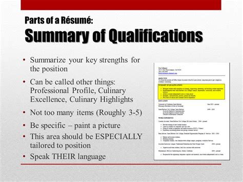 Summary Part Of A Resume by A R 233 Sum 233 Workshop For Culinary Arts Students Ppt