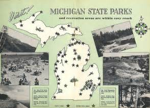 Michigan State Park Map by 1950 S Vintage Michigan State Park Map Explore Upnorth