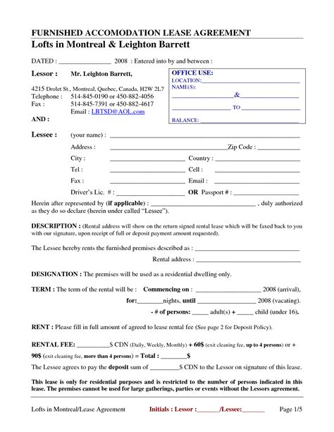 12 best images of basic rental agreement blank form