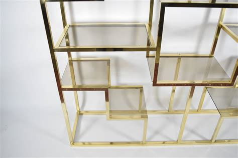 etagere 9 cases castorama romeo rega brass and smoked glass 201 tag 232 re at 1stdibs