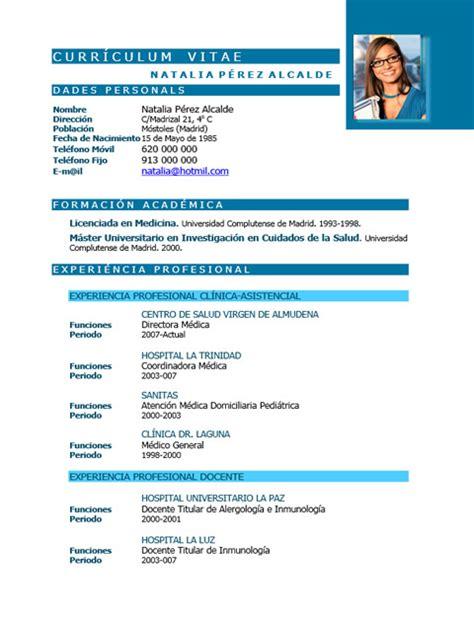 Modelo Curriculum Vitae Enfermeria Word Elaboraci 243 N Curriculum De M 233 Dicos O Enfermeras Plantillas De Cv Para Hospitales Cvexpres