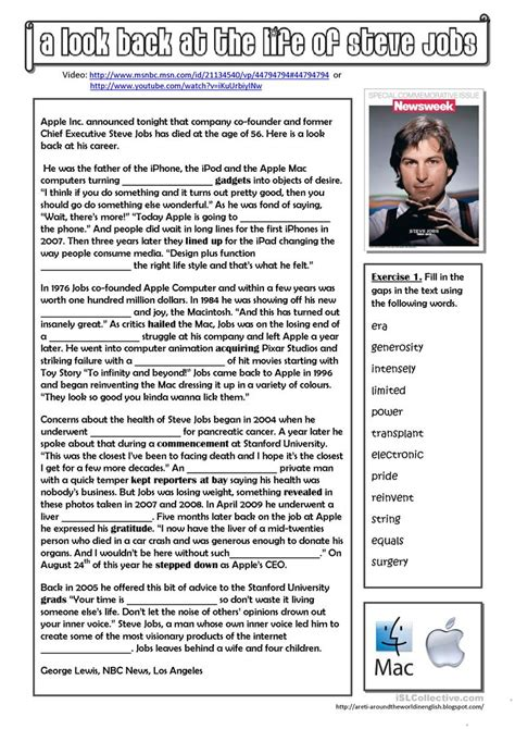 short biography exercises a look back at the life of steve jobs worksheet free esl