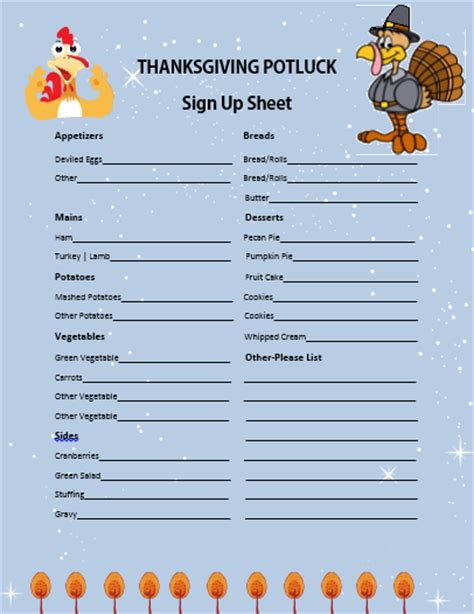 12 thanksgiving potluck signup sheets with thankgiving