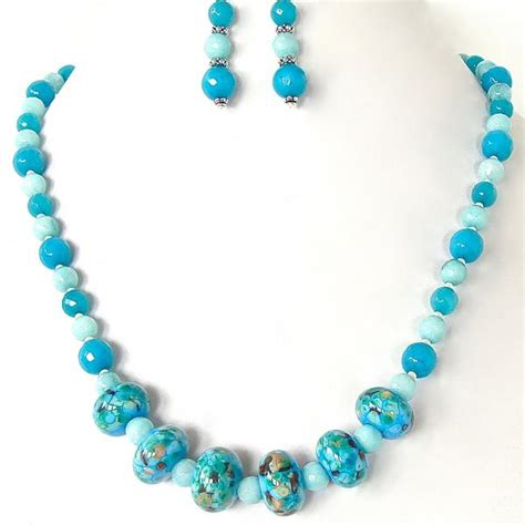 blue and green beaded necklace langley blue and green beaded necklace set earth and