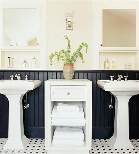 Black Wainscoting Bathroom Furniture Storage Cabinets Black Bathroom With