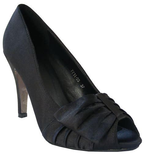 purple lilac black satin bow heels bridesmaids