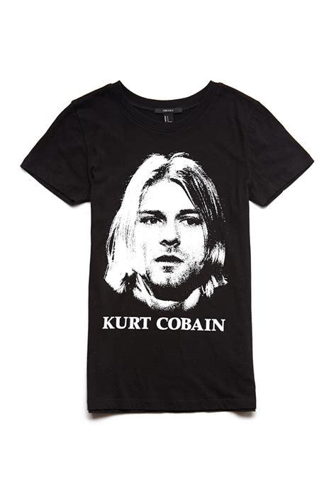 T Shirt Kurt Cobain Black lyst forever 21 kurt cobain in black