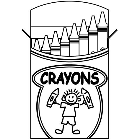 clip art big crayons coloring page abcteach
