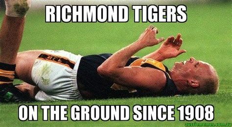 Richmond Memes - richmond tigers on the ground since 1908 afl low