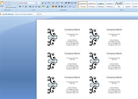 business card templates microsoft word how to create business cards in microsoft word 2007