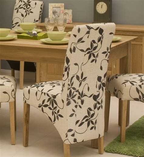 Conran Solid Oak Contemporary Furniture Set Of Two Floral Floral Fabric Dining Chairs
