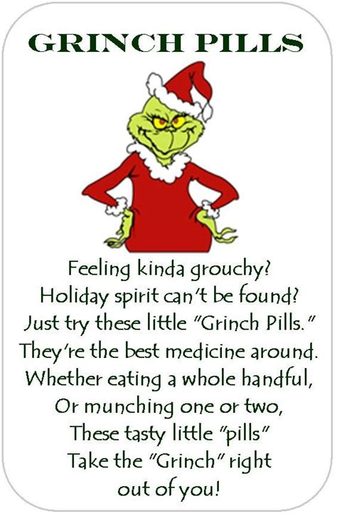 christmas party poems grinch pills print out and attach to the front of green tic tacs