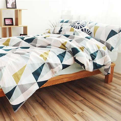 geometric coverlet cotton nordic style bedding set quilt cover twin blue