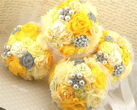Bridesmaid Bouquet Yellow by Bridesmaids Brooch Bouquets Brooch Wedding Bouquets In