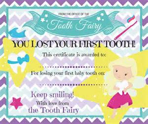 tooth fairy certificate for losing first baby tooth