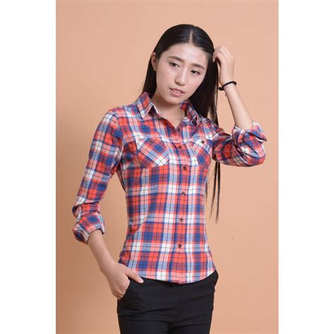 checked blouse aliexpress buy plaid tops cotton flannel shirt