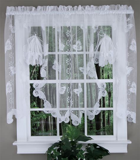 lace swag valance curtains butterfly lace fan swag ivory sku country kitchen