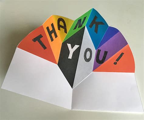 thank you free printable pop up card templates expanding pop up make a thank you card or note which