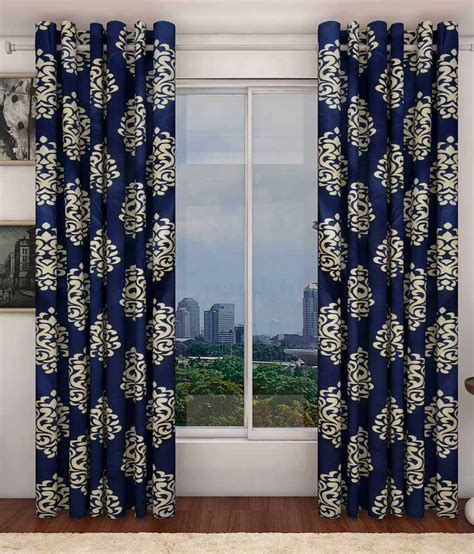 buy one get one free curtains sanaya blue polyester printed window curtain buy 1 get 1