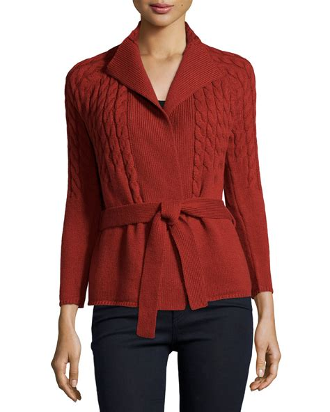 cable knit belted cardigan lyst lafayette 148 new york cable knit belted