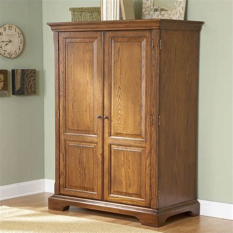 oak computer armoire seville square computer armoire in warm oak 8985