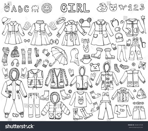 doodle design draw fashion fashion wear setbabyteenager wear collection stock