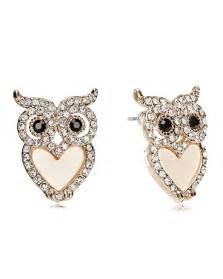 earring studs rhinestone owl earrings stud owl earrings gold plated