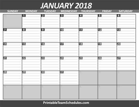 Printable Calendar 2018 With Lines | printable january calendar template 2018