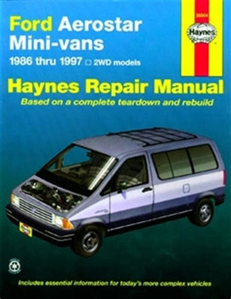 old car owners manuals 1997 ford aerostar head up display haynes repair manual for ford aerostar mini vans 1986 thru 1997