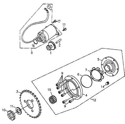 Gear Starting Starter Driven Reduction Shaft Sonic 150 R Fi Stater starting motor thunder bike 150