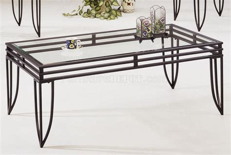black metal base 3pc coffee table set w clear glass tops
