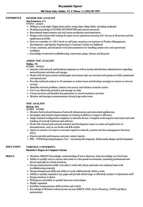 Noc Analyst Sle Resume by Noc Analyst Resume Sles Velvet