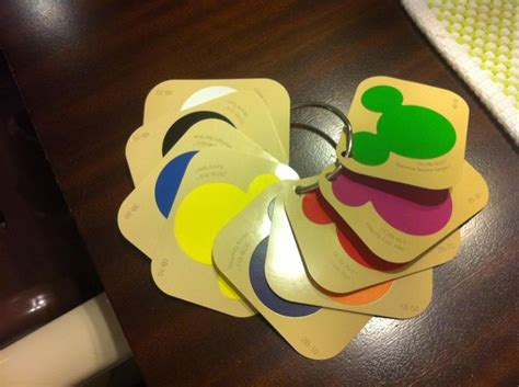 i made these color flashcards out of disney paint swatches from home depot my 2 yr