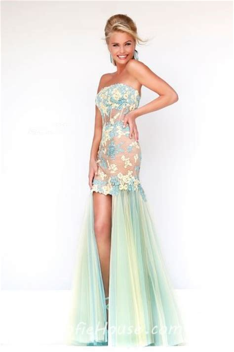 sherri hill strapless tulle and lace body con dress high low strapless sheer see through corset pink green