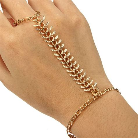 Gold Plated Centipede Bracelet Finger Ring Metal Chain Bracelet   Alex NLD
