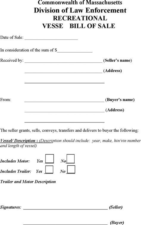 Massachusetts Bill Of Sale Form Download Free Premium Templates Forms Sles For Jpeg Mass Rmv Bill Of Sale Template