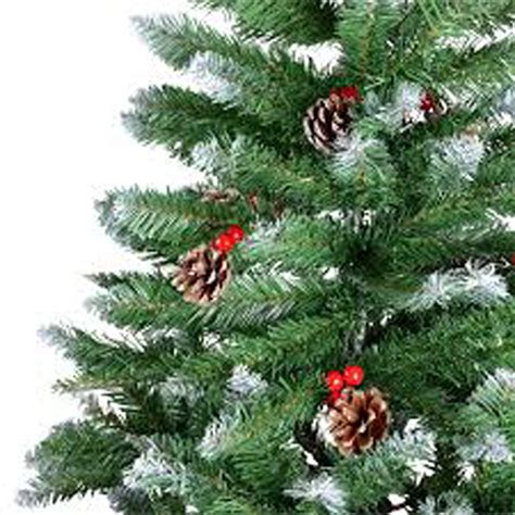 christmas tree with berries kraftz 174 1 8m 6ft artificial frosted tree with pine cone berries 820 tips ebay