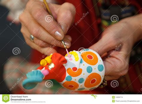 Painting Pottery Figurines. Russian Folk Craft. Stock Images   Image: 14059774